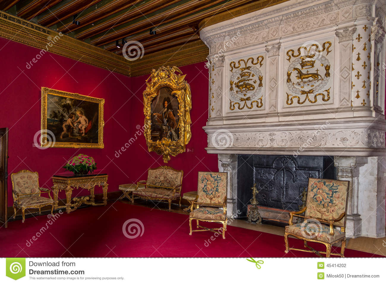 Inside chamber in chenonceau chateau editorial photography for Chateau chenonceau interieur