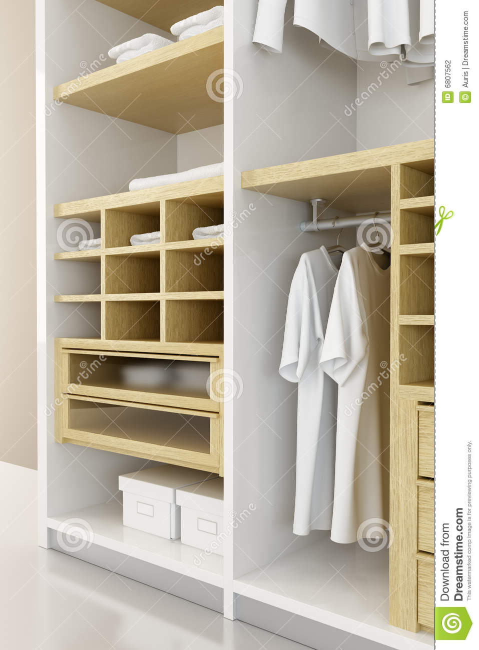 High Quality Inside The Closet 3d Rendering. Open, Dress.