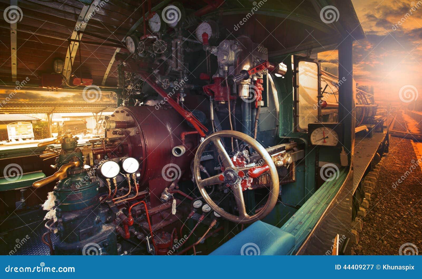 Inside Control Room Of Stream Engine Locomotive Train