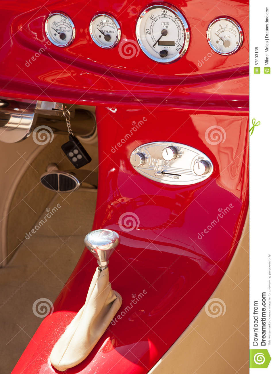 Inside dash of a red hot rod