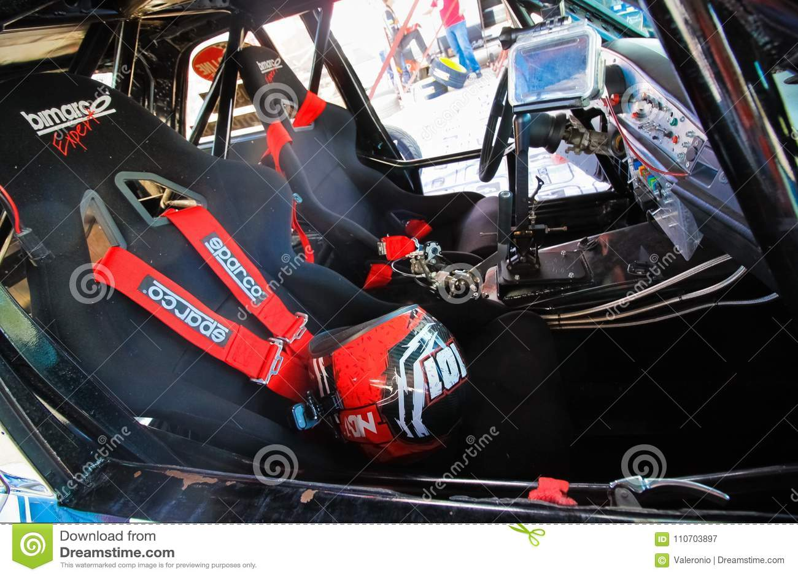 Inside A Drift Sport Car In Garage At Vinnytsia Drift Competition