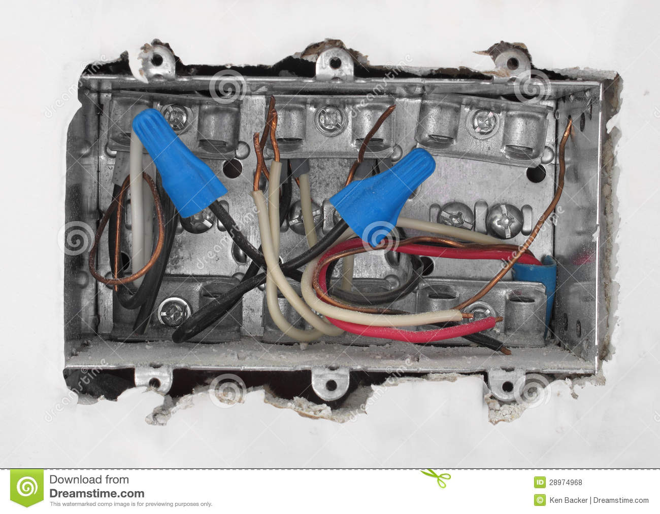 Inside Of An Electrical Box In Drywall  Stock Photo