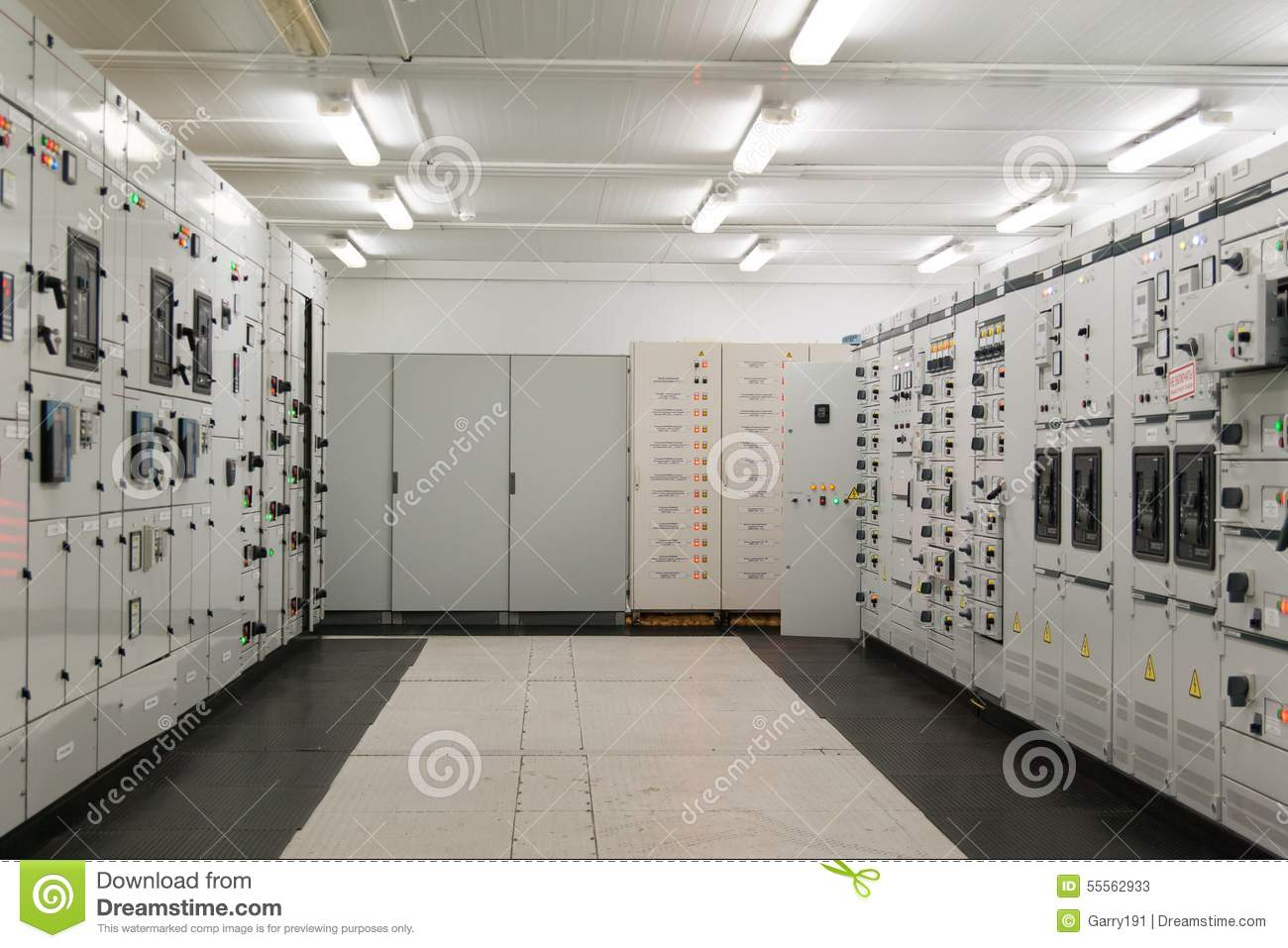 Inside Electrical Energy Distribution Substation Stock