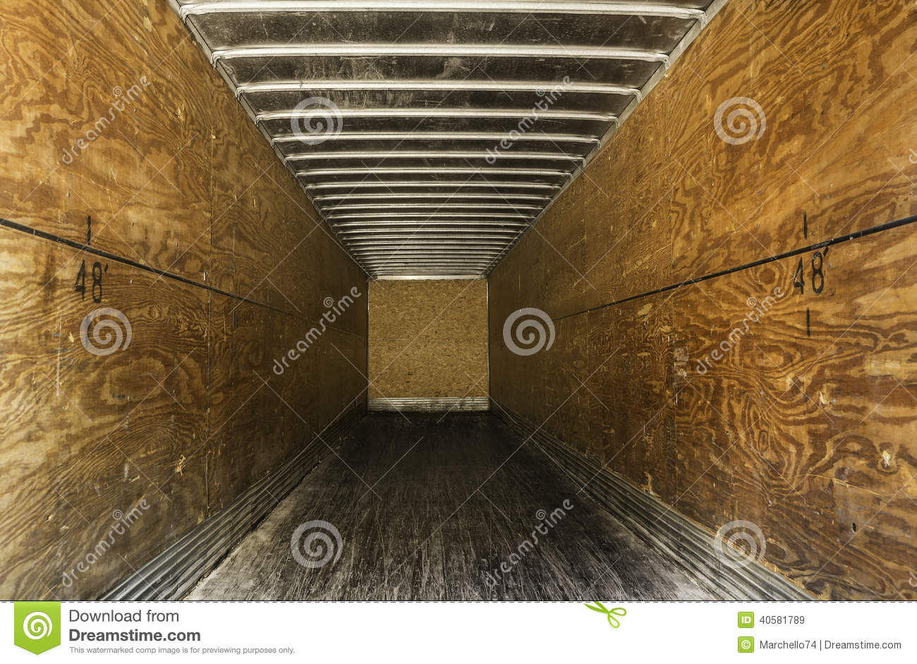 Inside Of Empty Old Trailer Stock Image Image Of Shipping Truck 40581789