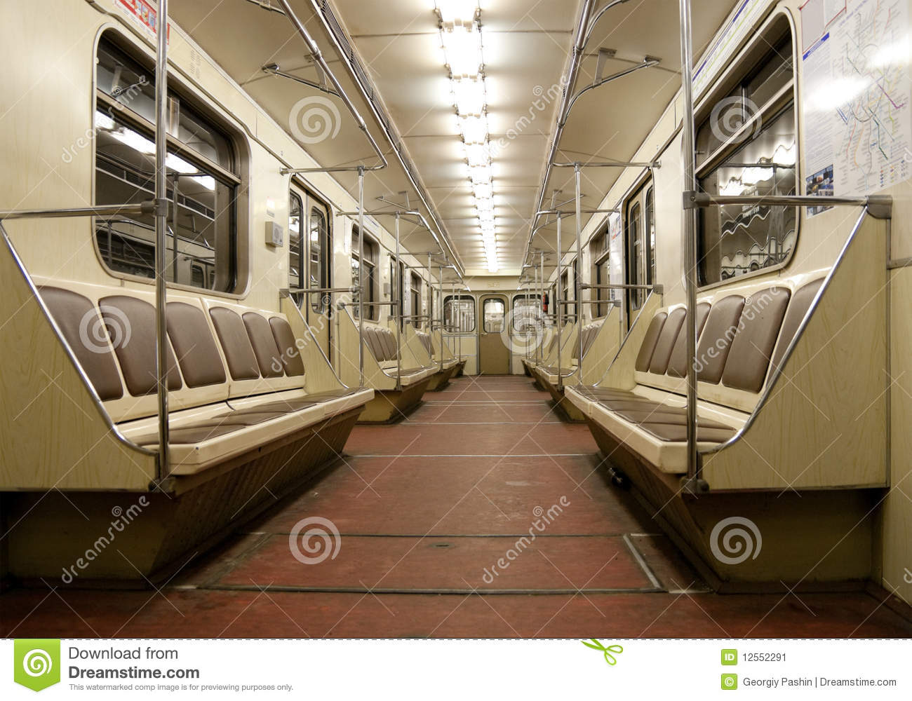 inside of empty train in moscow metro stock image image 12552291. Black Bedroom Furniture Sets. Home Design Ideas