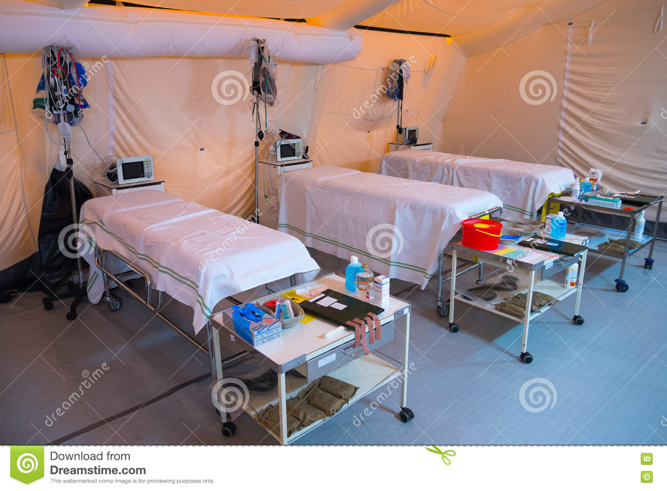 Inside field hospital tent stock photo  Image of disaster