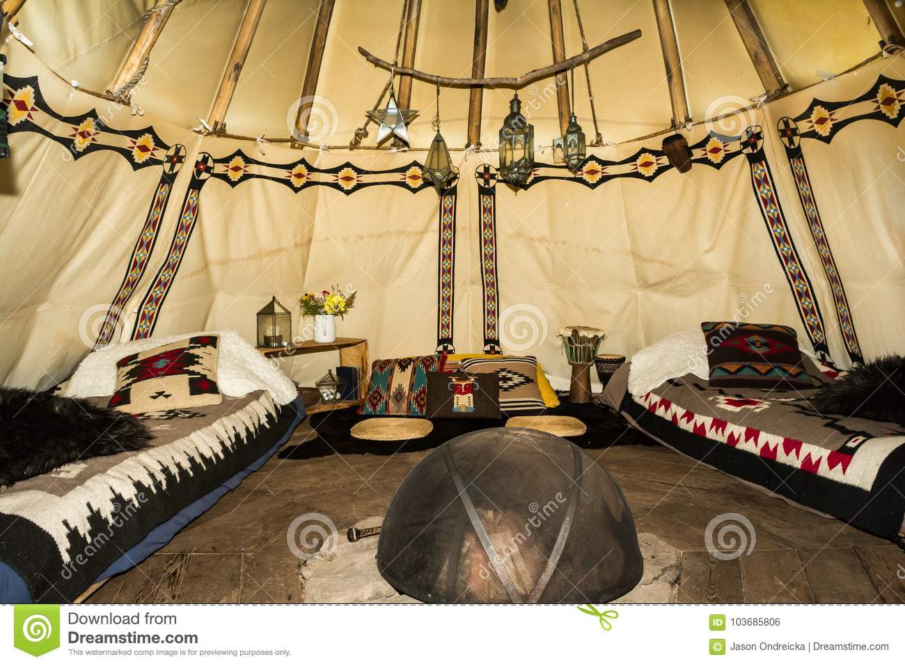 The inside of a Glamping Teepee