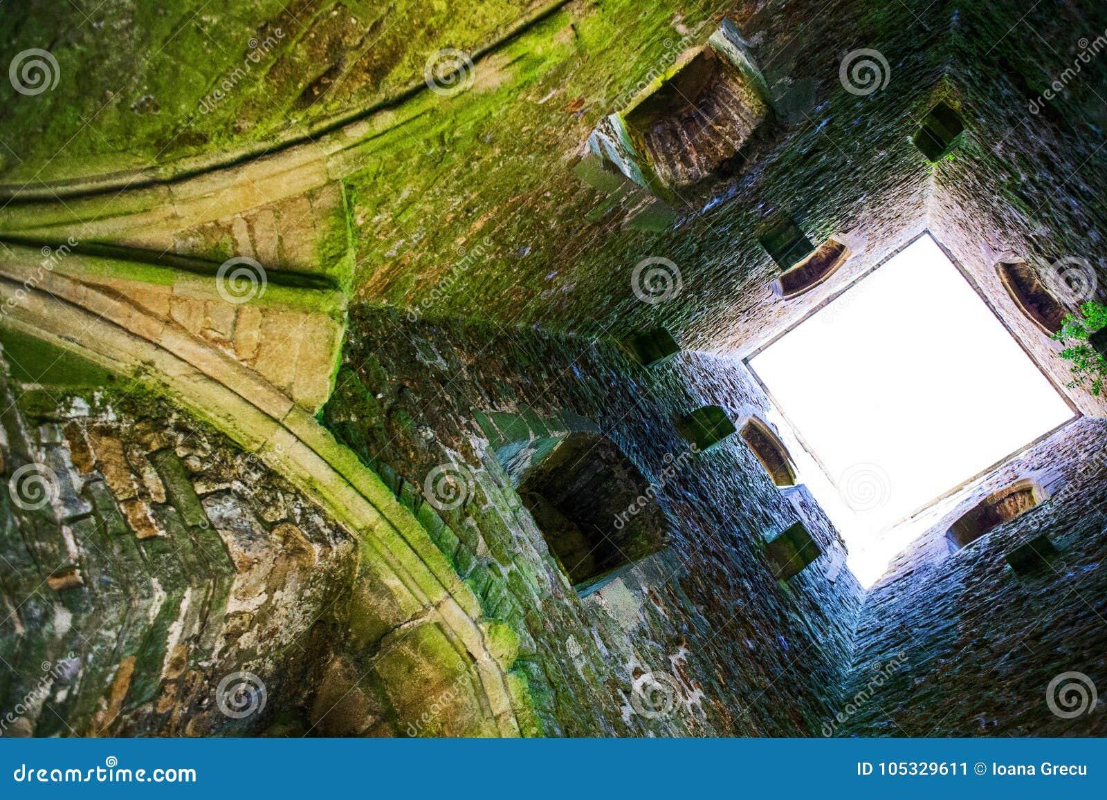 Inside the Glastonbury Tor tower on the Glastonbury Hill