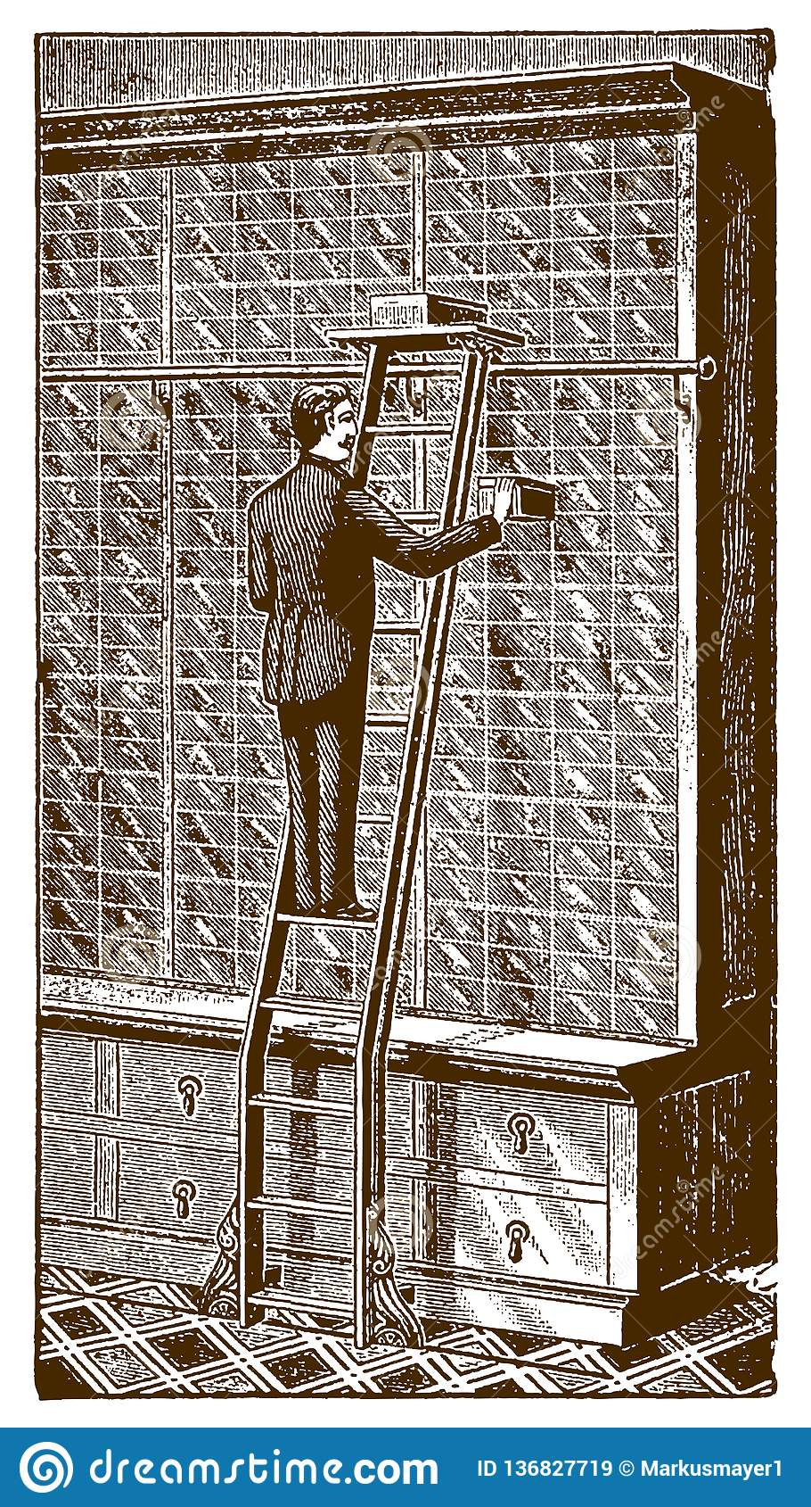 Inside A Historical Store A Salesman Standing On A Floor Track