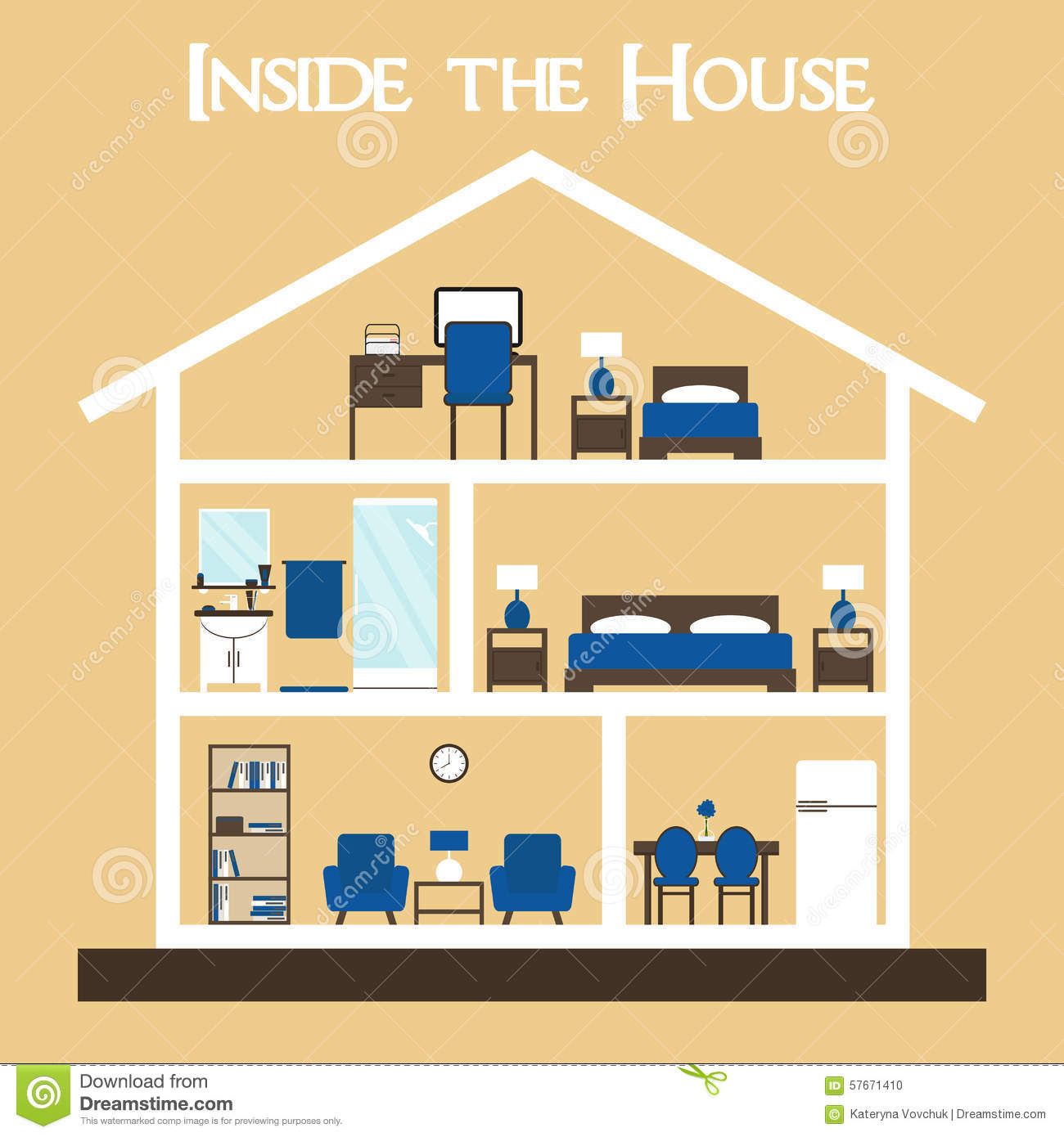 Inside the house flat style vector illustration house silhouette with furniture stock photo