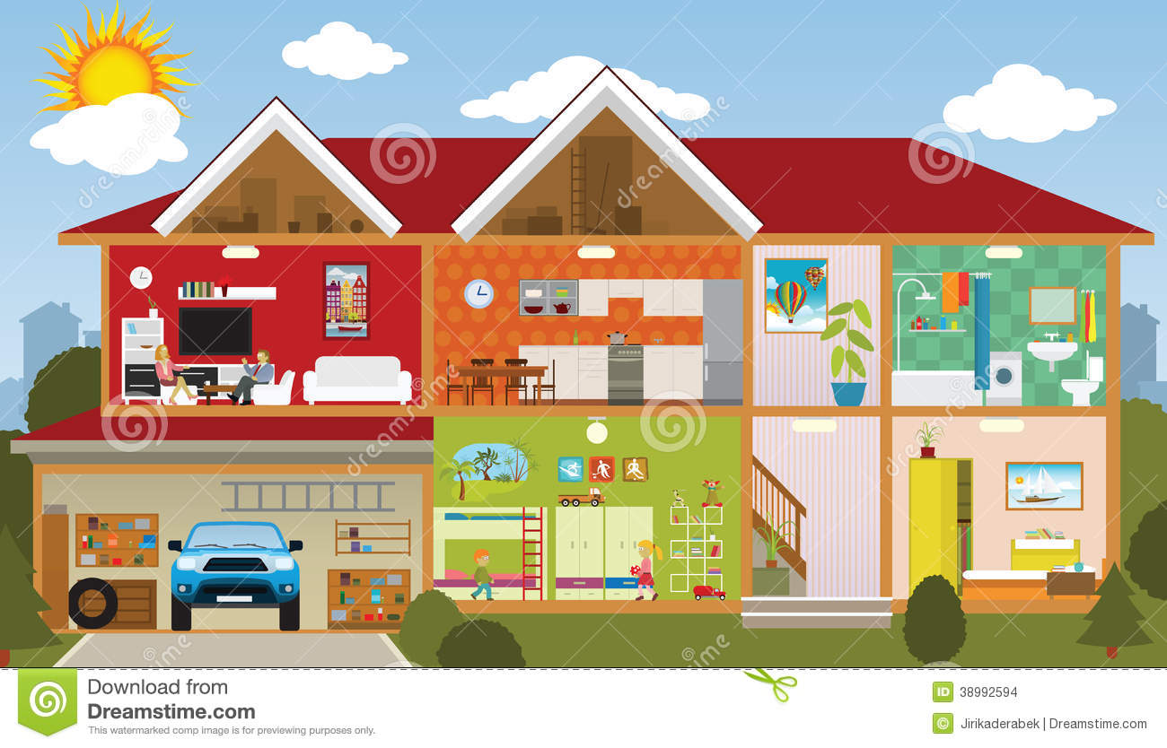 Inside the house stock vector image 38992594 for Picture of my home