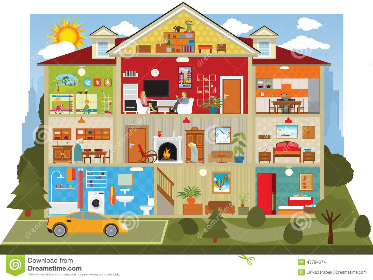 Free Clip Art Cartoon House Inside Car Design Today