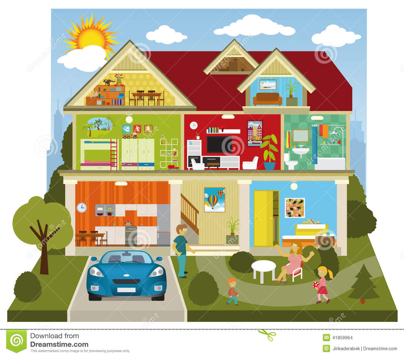 Inside the house stock vector illustration of domestic for My home builders