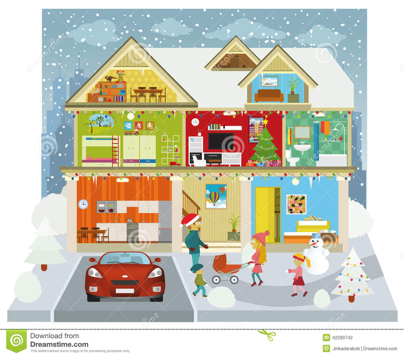 Bathroom House Plans Inside The House Winter Stock Vector Illustration Of