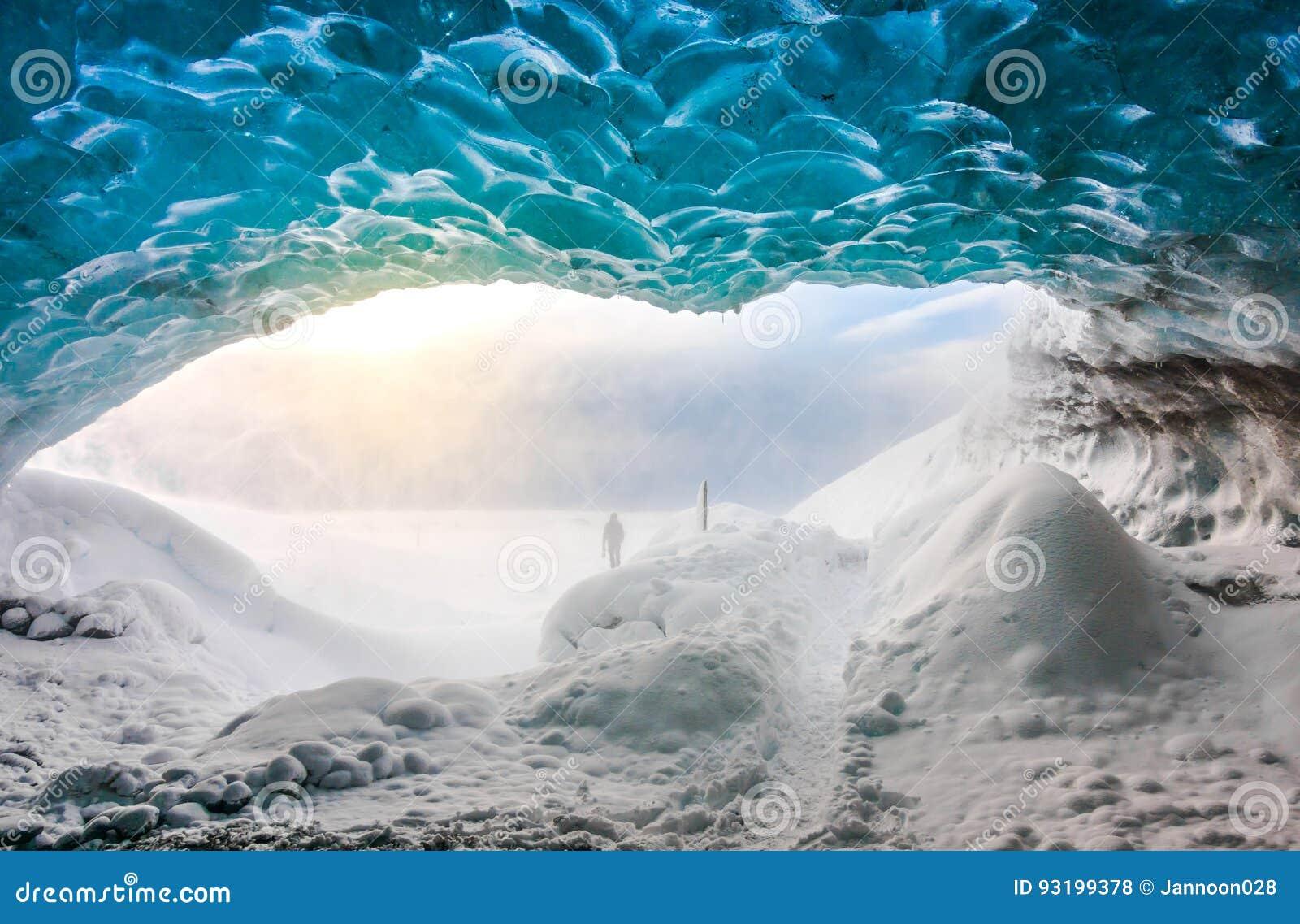 Inside ice cave in Vatnajokull, Iceland .