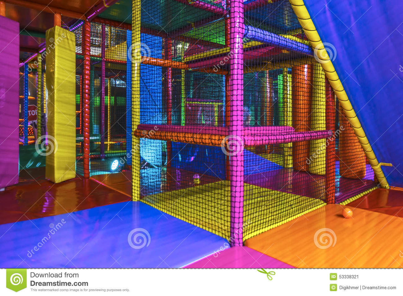Inside an indoor playground arena stock photo image for Indoor play slide