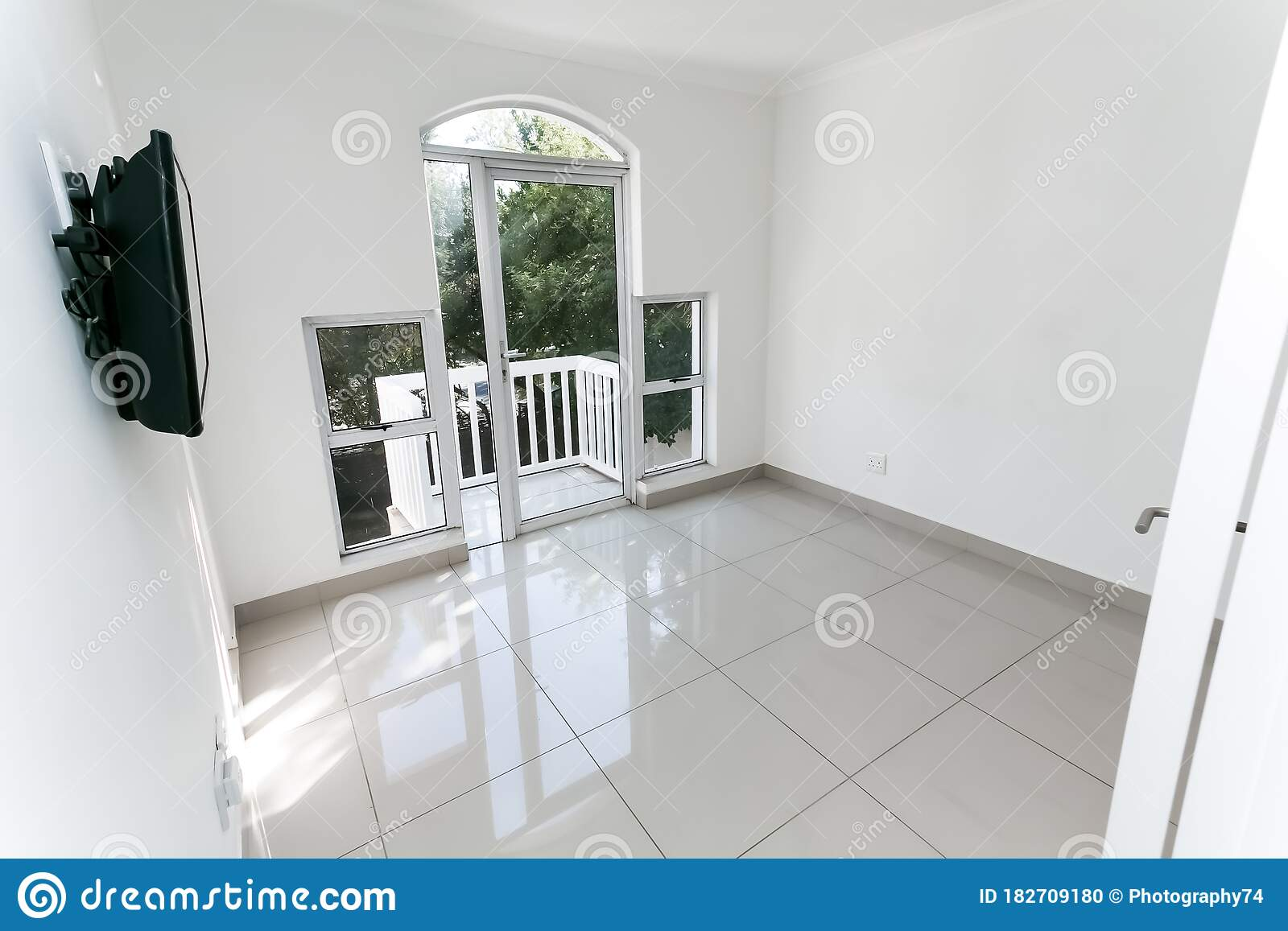 Inside Interior Of Empty Bedroom With Tiled Floors In Up-market