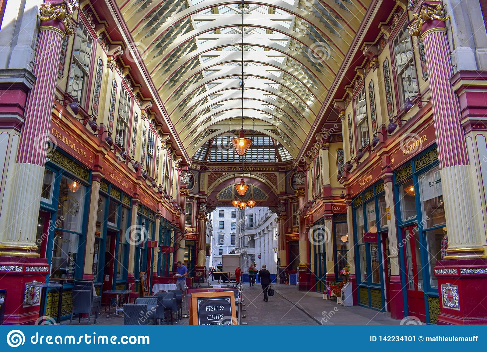 Inside Leadenhall Market on Gracechurch Street in London, England