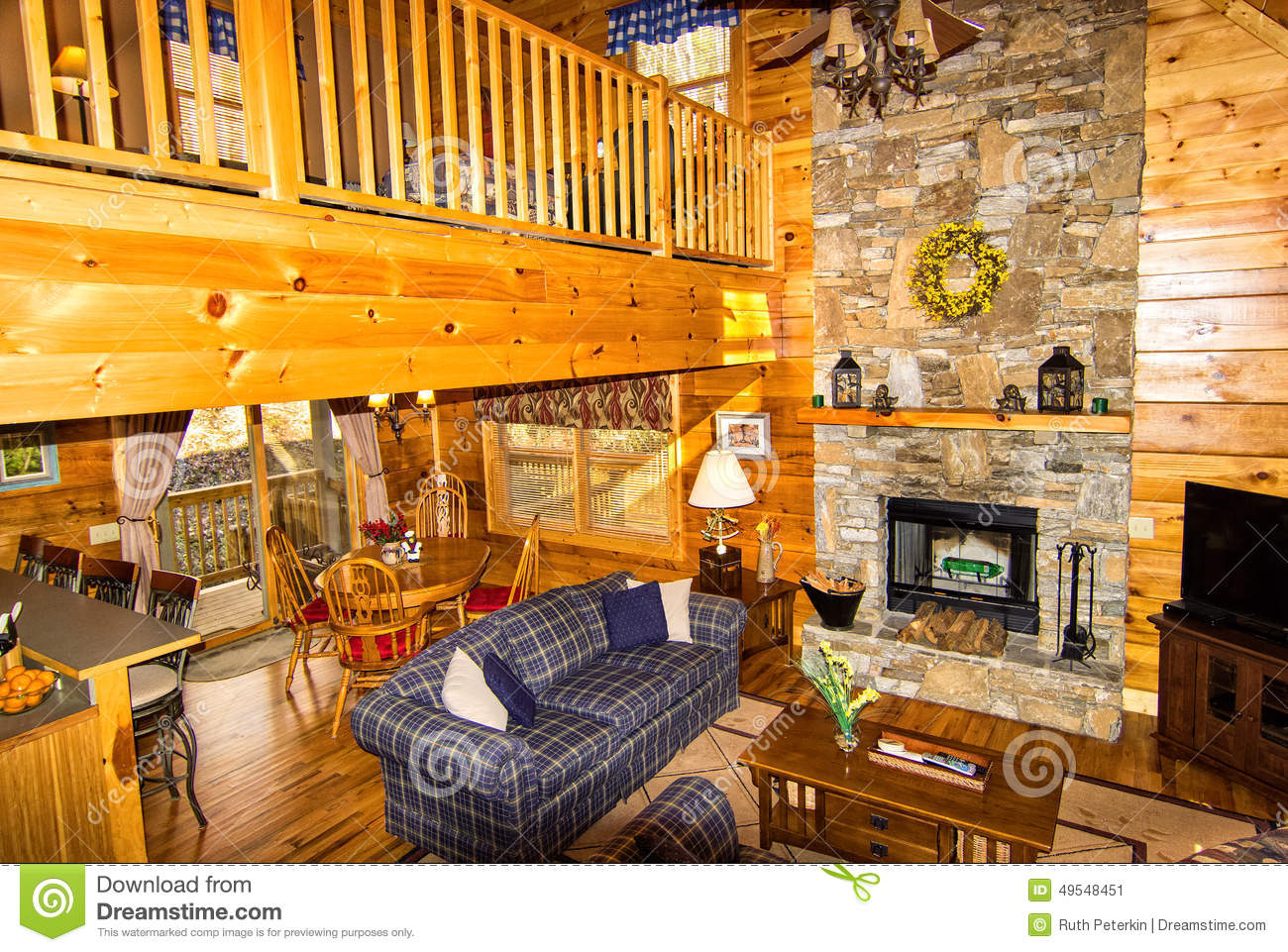 Inside A Log Cabin Stock Image Image Of Television
