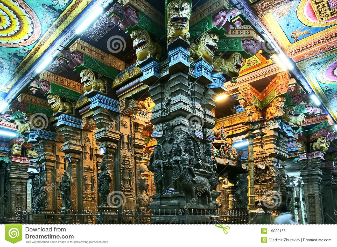 Inside Of Meenakshi Hindu Temple In Madurai Royalty Free ...
