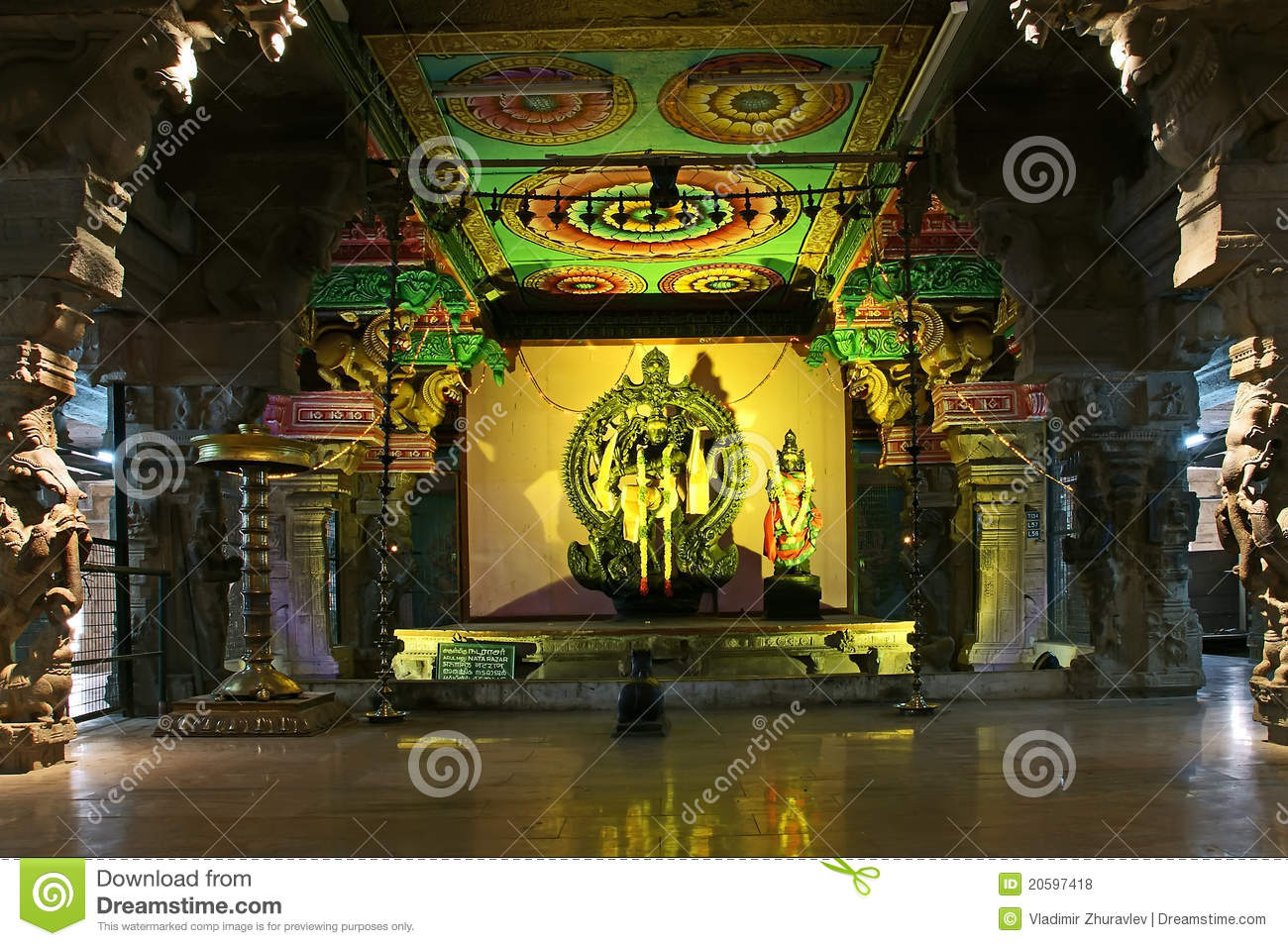 Inside Of Meenakshi Hindu Temple In Madurai Royalty Free