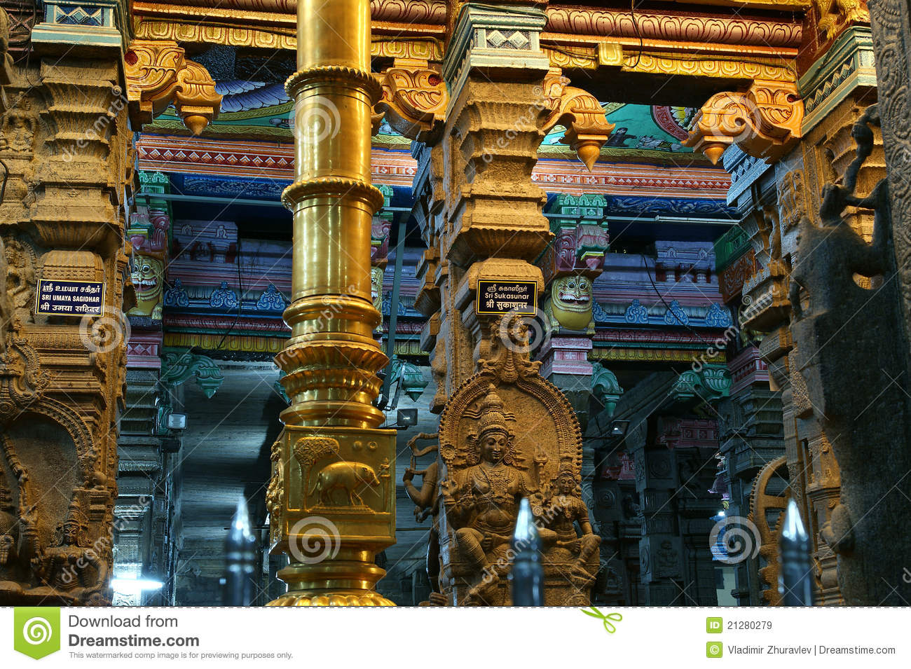 Inside Of Meenakshi Hindu Temple In Madurai, India Stock ...