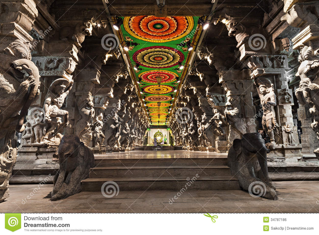 Inside Of Meenakshi Temple Royalty Free Stock Image ...