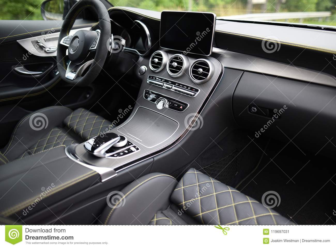 Car Interior Of A Mercedes C63s Stock Image Image Of 2018