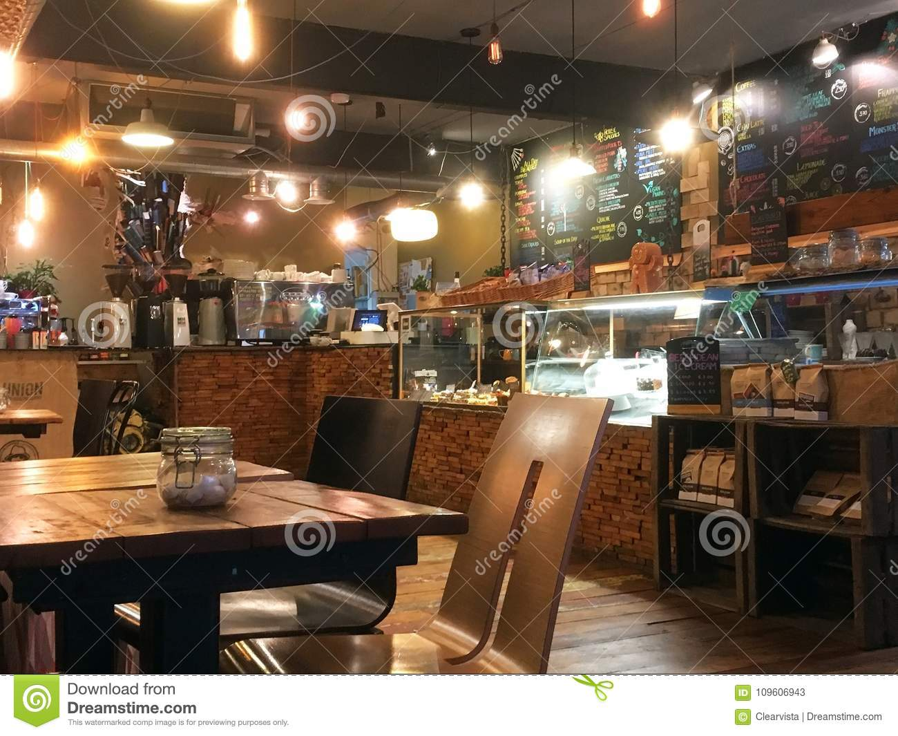 e809637a5b1 Inside A Modern Coffee Shop In The United Kingdom. Editorial Stock ...