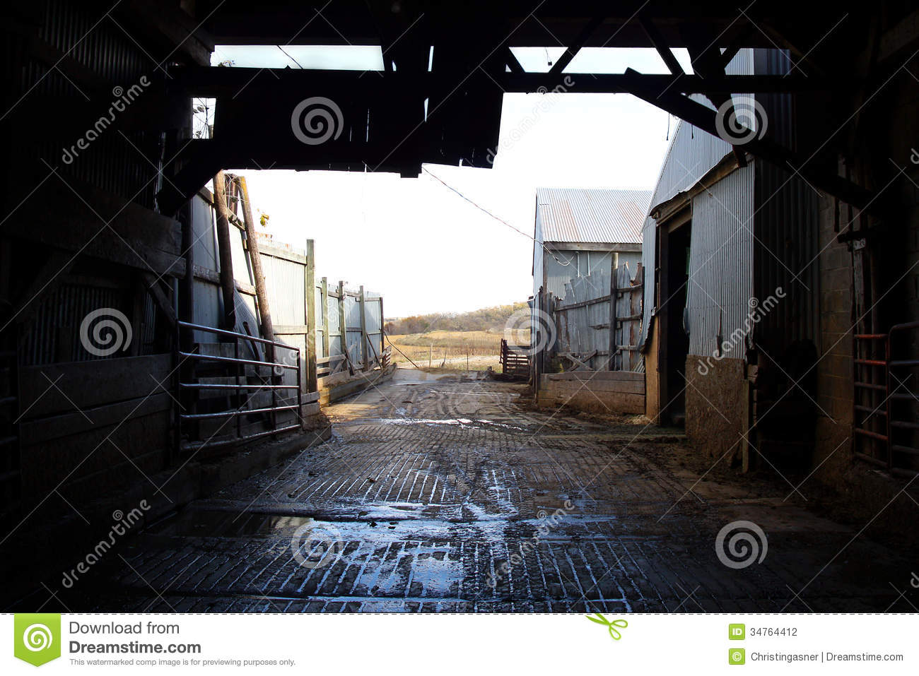 Inside Old Barn Corral Border Stock Photography Image