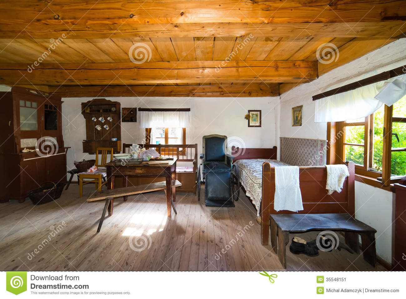 Inside Of Old Rural Home In Poland Xixth Century Stock Image Image 35548151