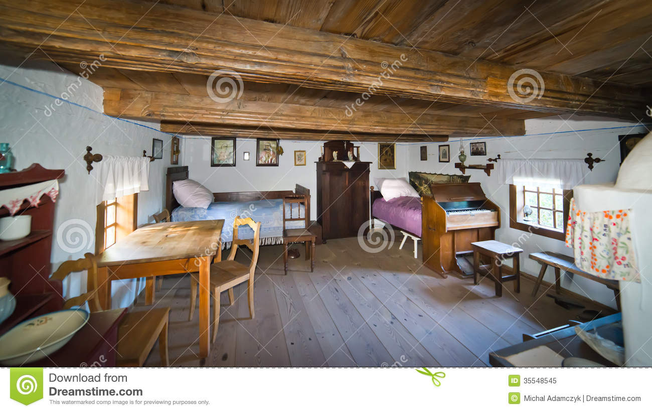 Inside Of Old Rural Home In Poland Xixth Century Stock