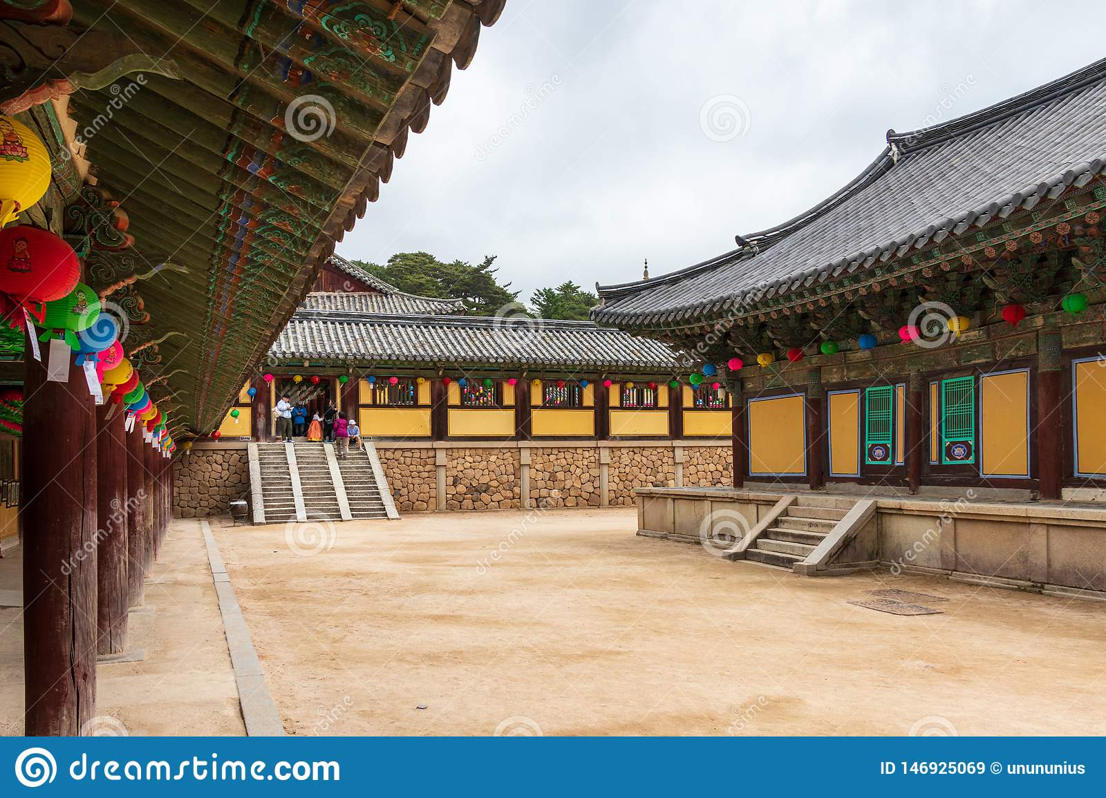 Inside panorama of Korean buddhistic Bulguksa Temple with many lanterns to celebrate buddhas birthday on a clear day. Located in