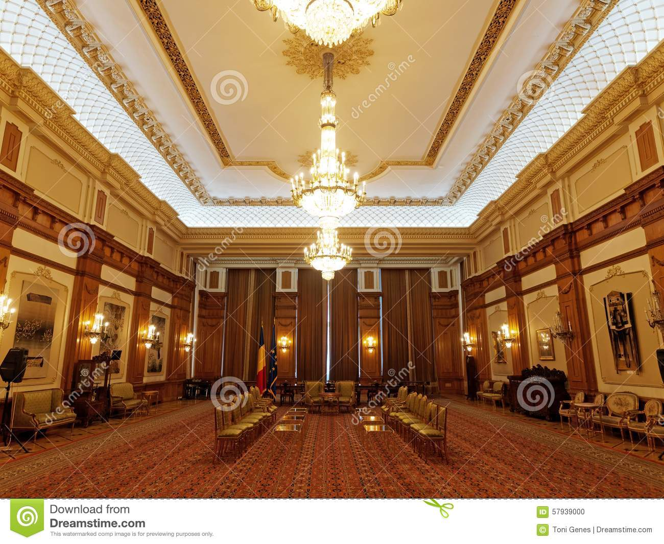 Houses Of Parliament Interior. Inside of Parliament House in Bucharest  Romania Of In Stock Photo