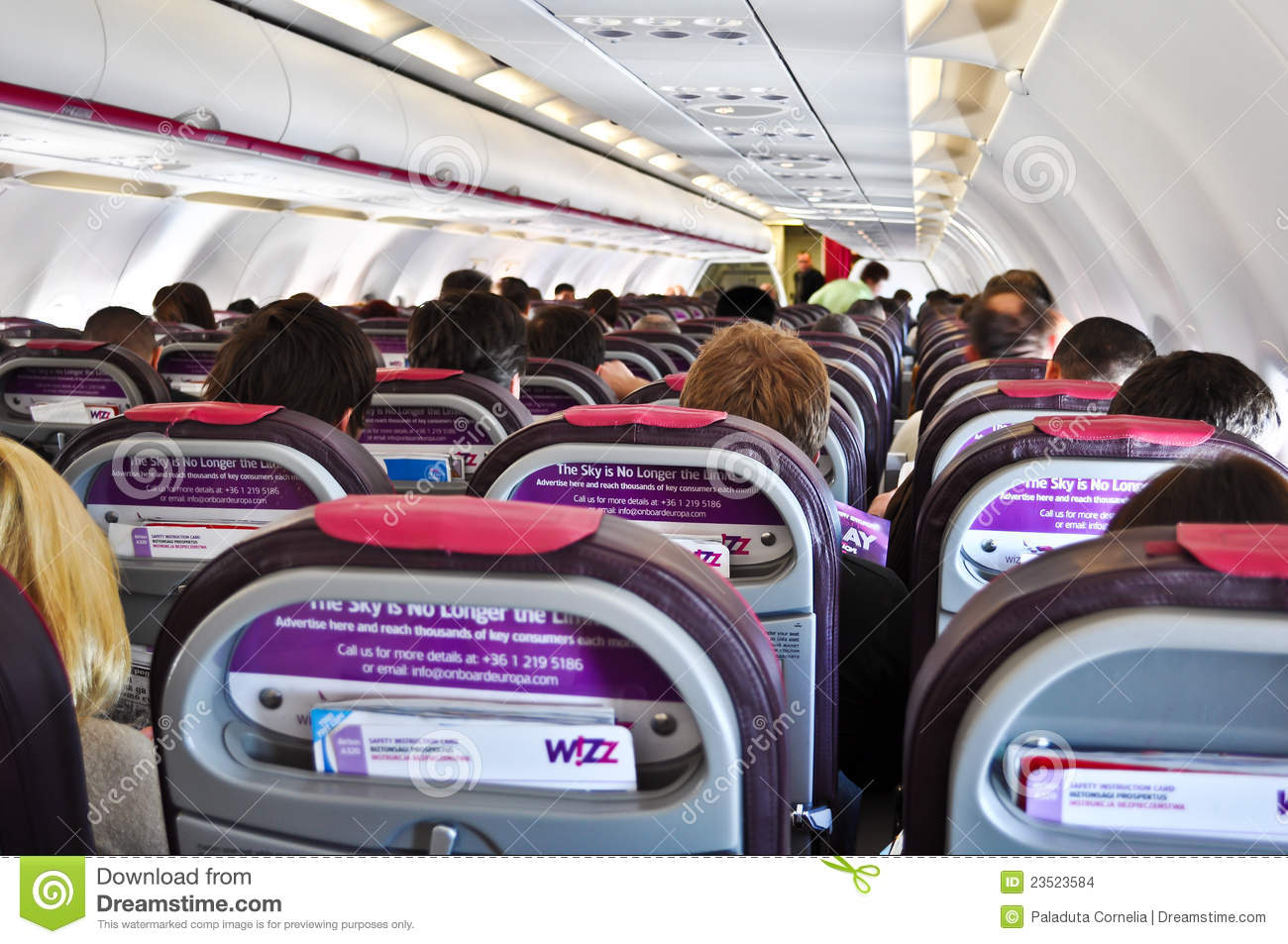 Inside A Plane Wizzair Editorial Stock Image Image Of Comfortable 23523584