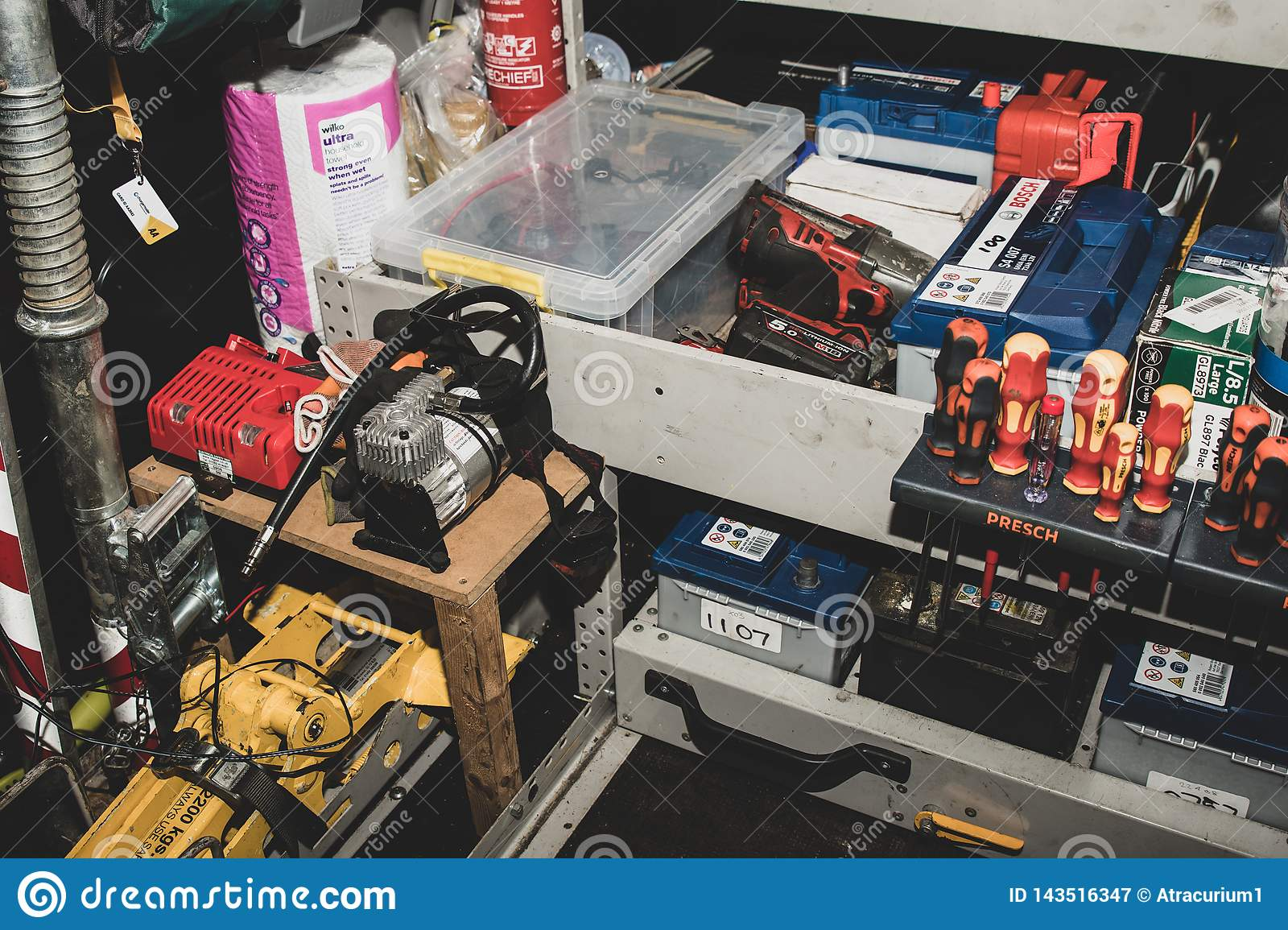 The inside of roadside rescue van by the AA in the United Kingdom.