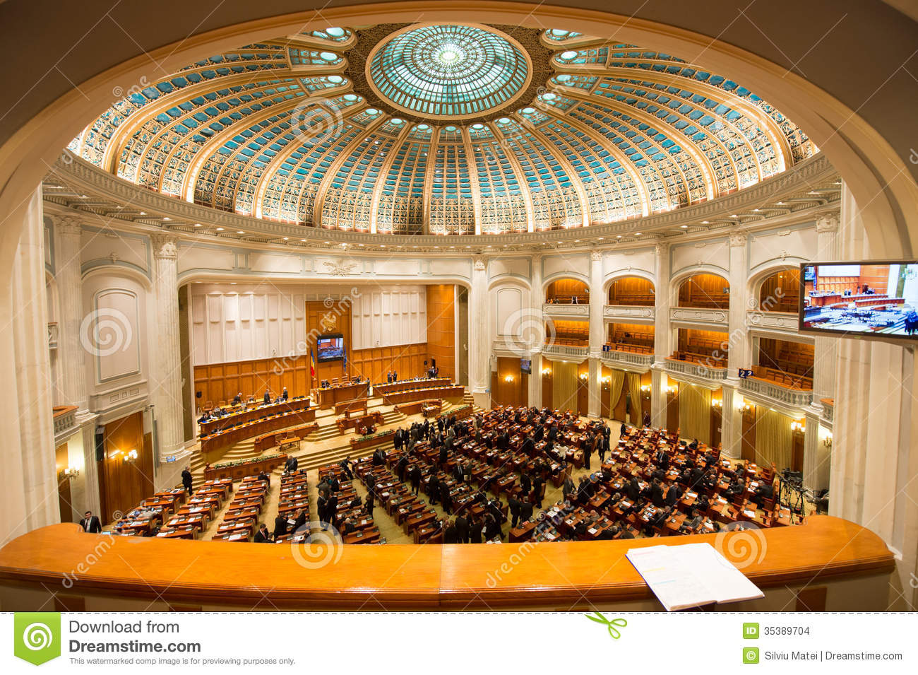 Inside Of Romanian Parliament Editorial Stock Image