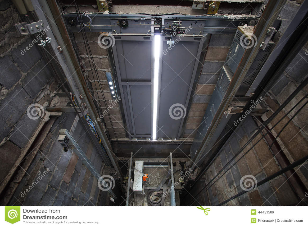 Inside Of Roping Elevator, Lift Box Builting In High