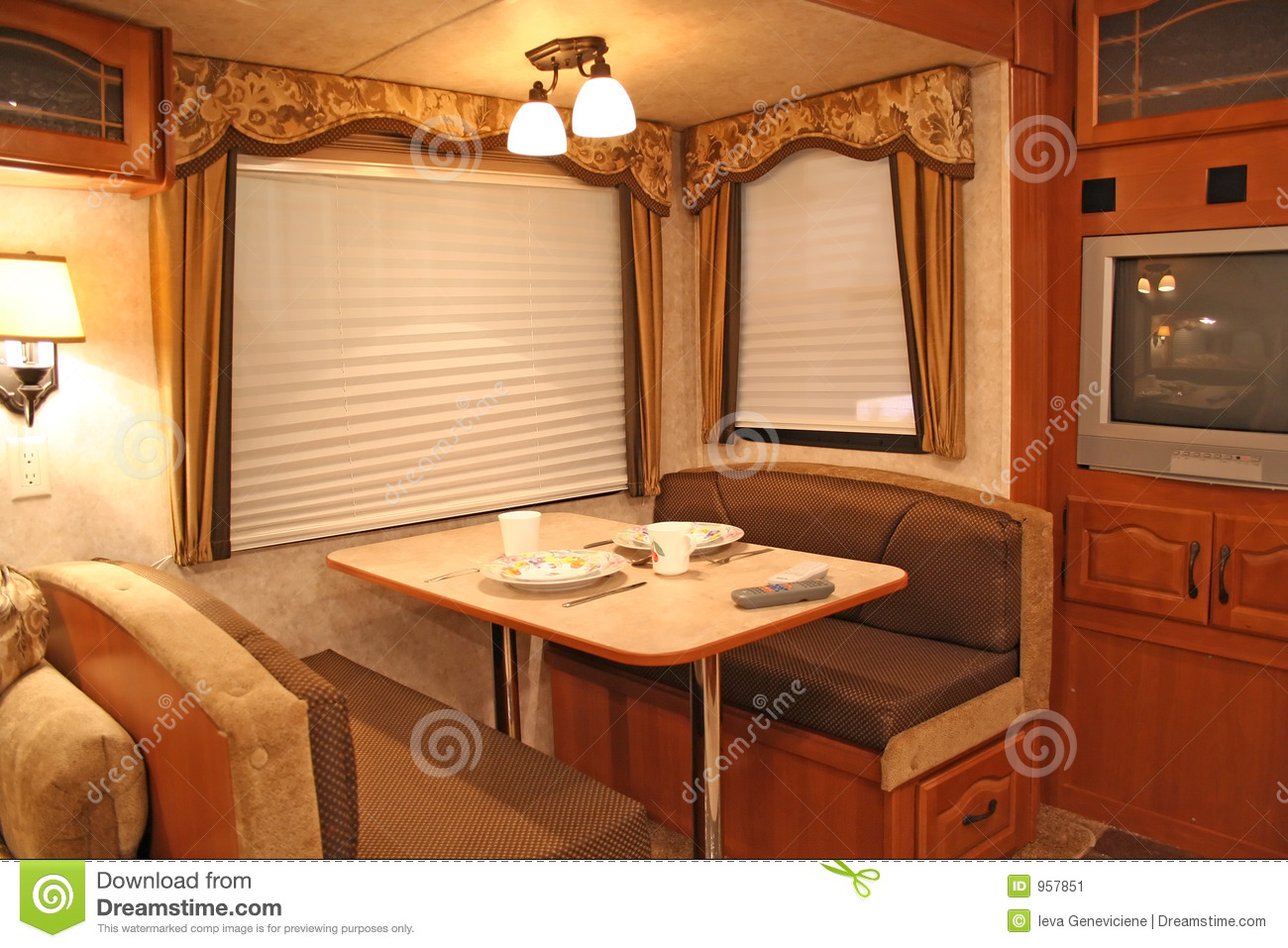 Inside rv dining stock image image 957851