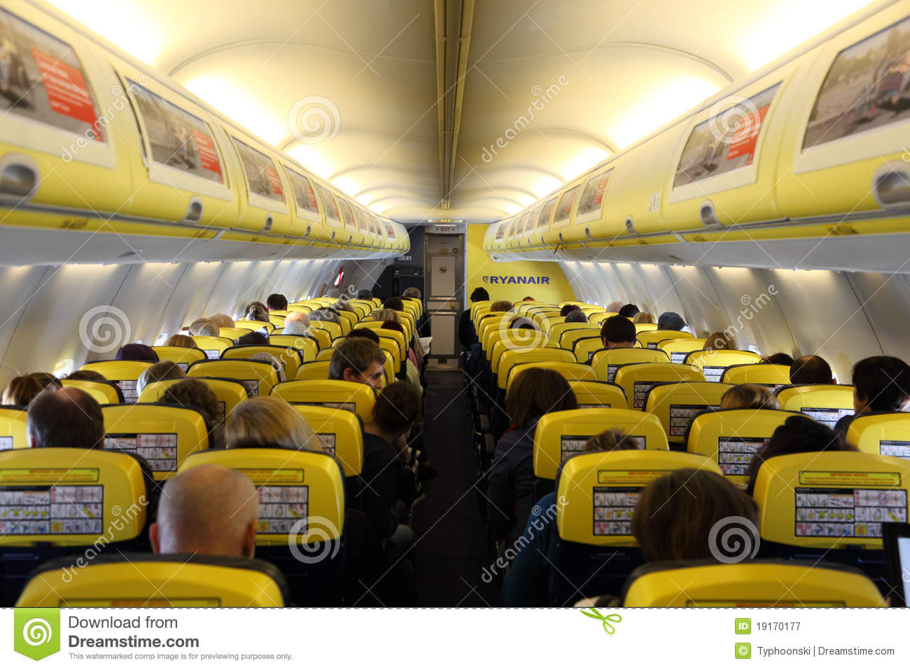 inside of the ryanair airplane editorial photography