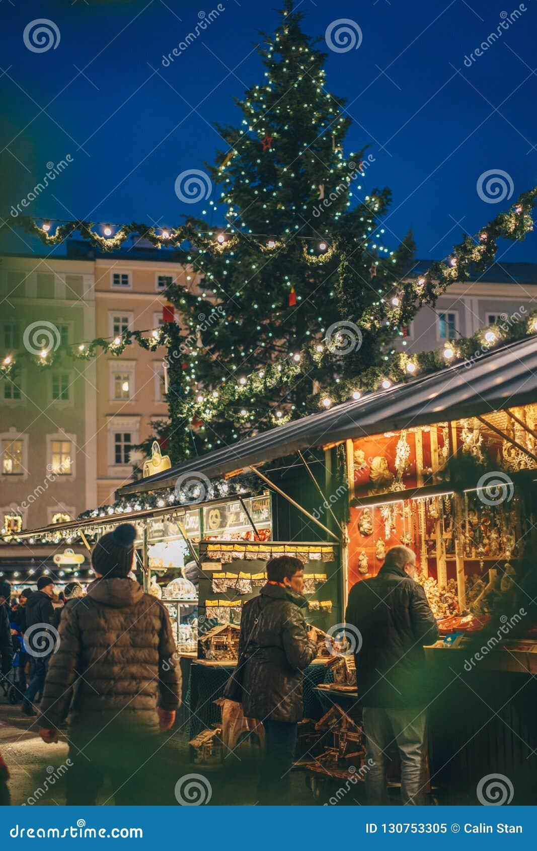 Salzburg Christmas Market.Inside The Salzburg Christmas Market At Night Shot Trough A