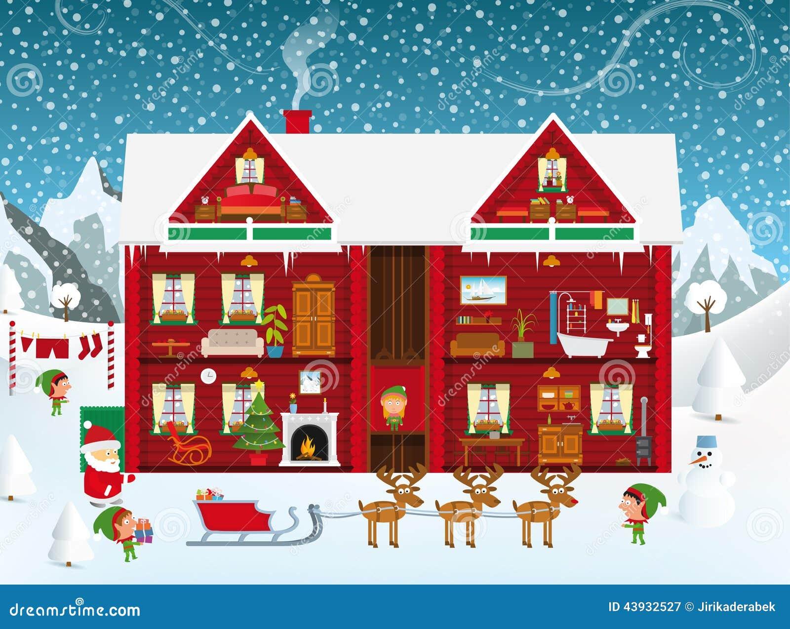 Inside the santa s house stock vector illustration of for Christmas theme design