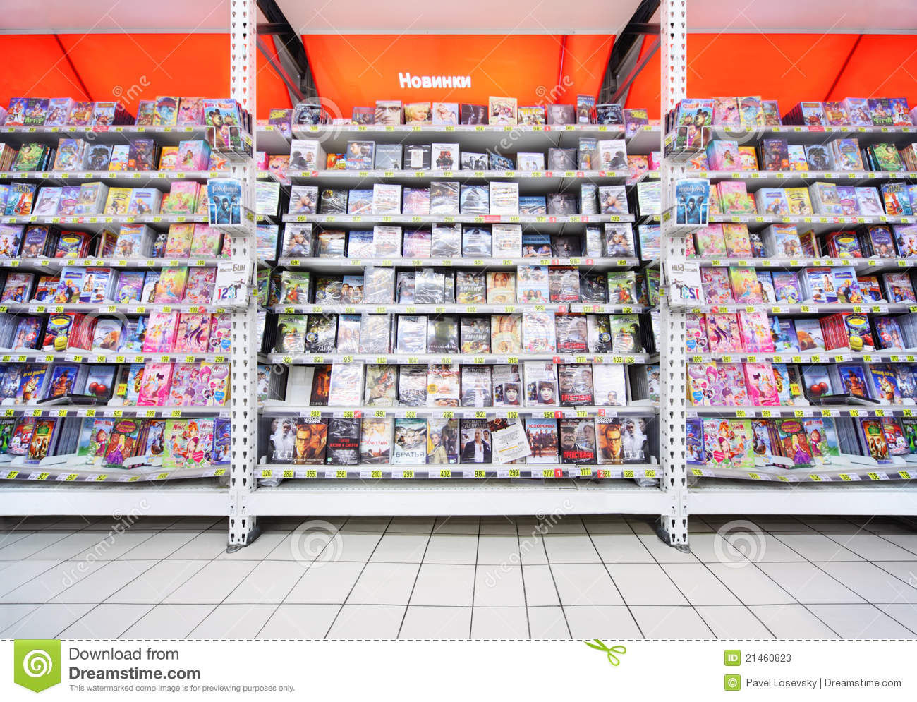 Inside shop of DVDs editorial stock photo  Image of record - 21460823