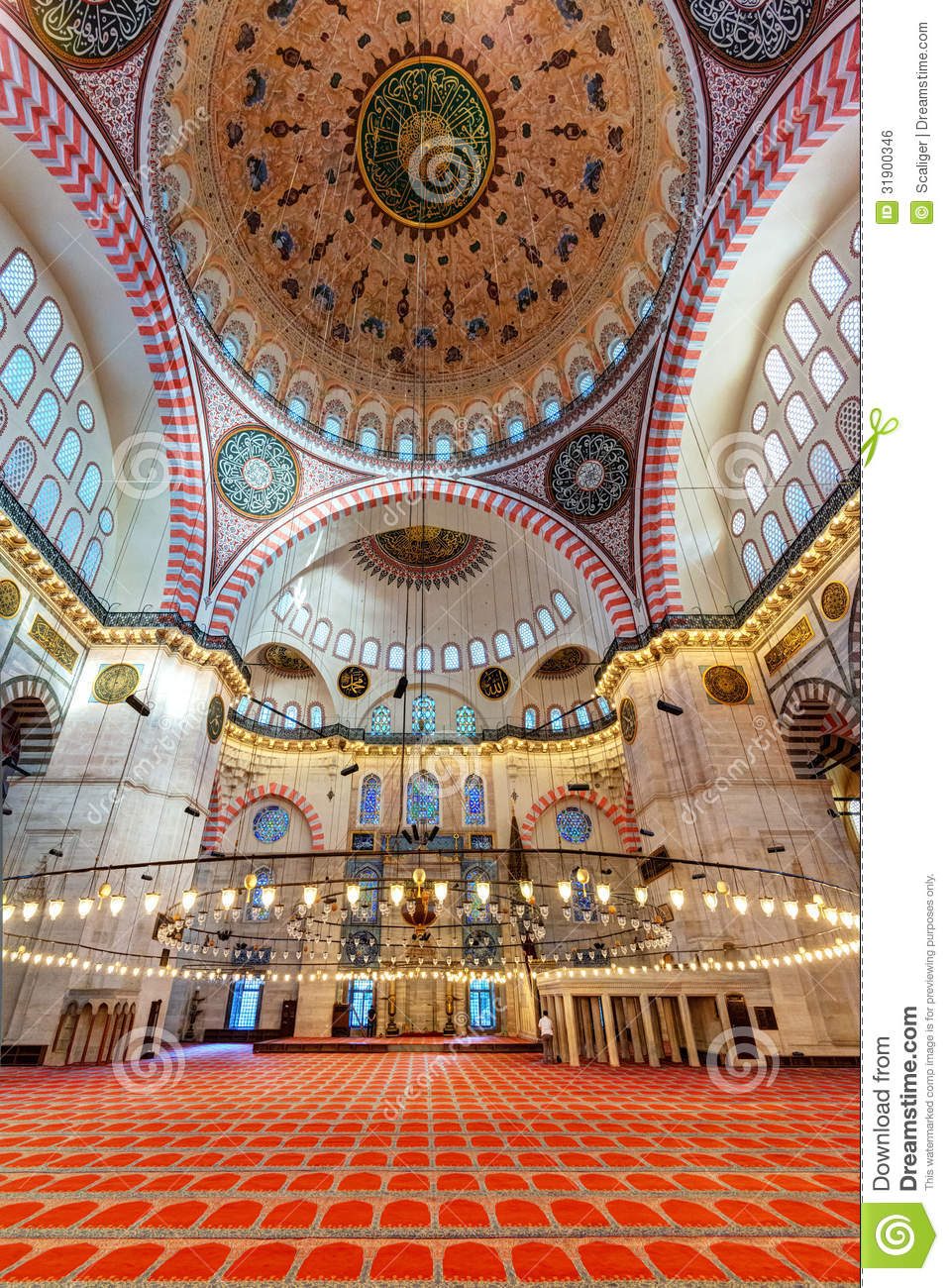 Inside The Suleymaniye Mosque In Istanbul Turkey