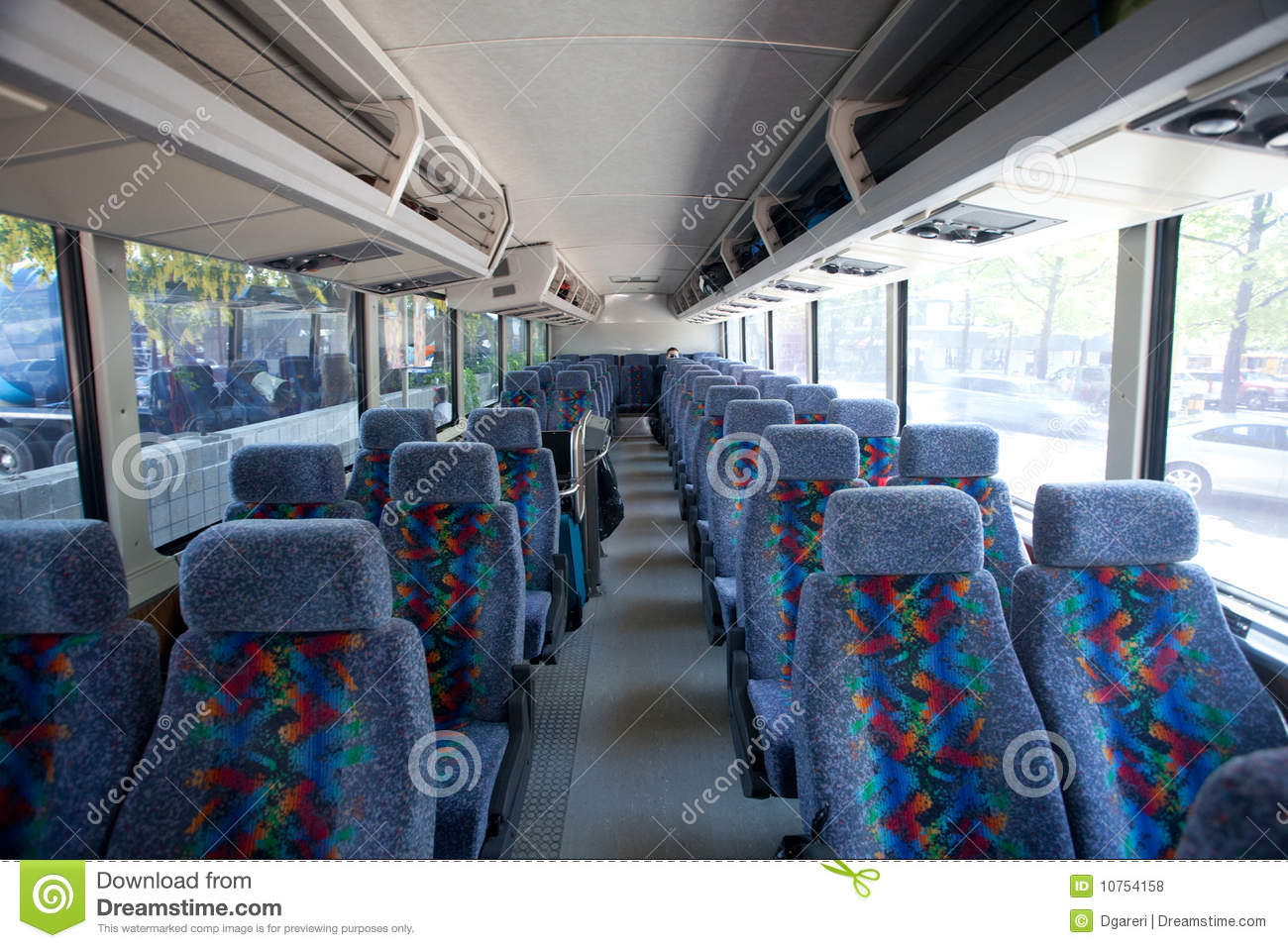 inside of a tour bus royalty free stock photos