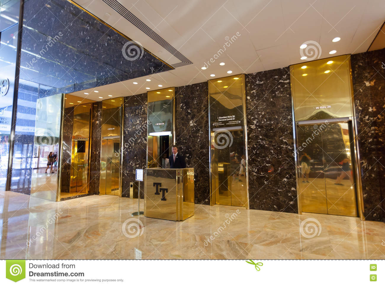 Inside Of The Trump Tower Lifts With Employee Editorial