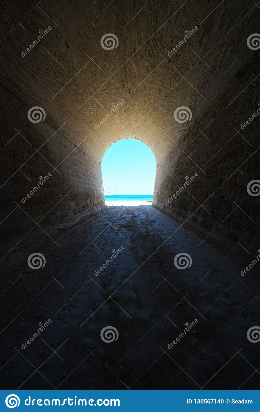 Inside tunnel that leads to seashore natural scene