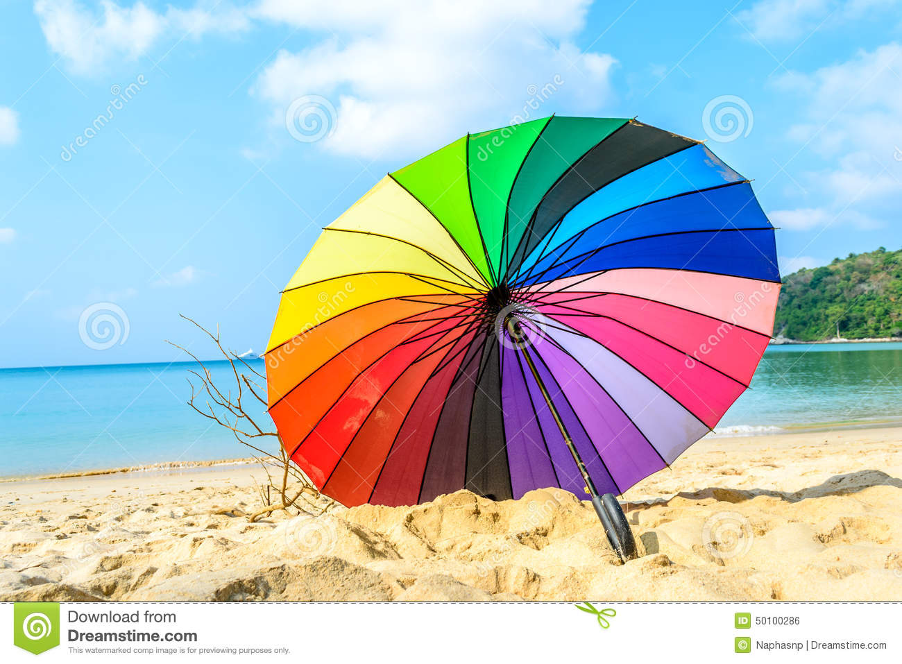inside view colourful umbrella and beach background stock photo