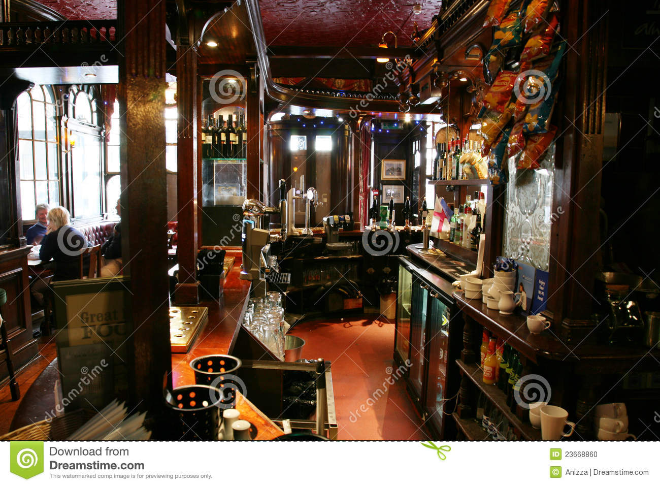 London  UK   August 30  2010  Inside view of a public house  known as