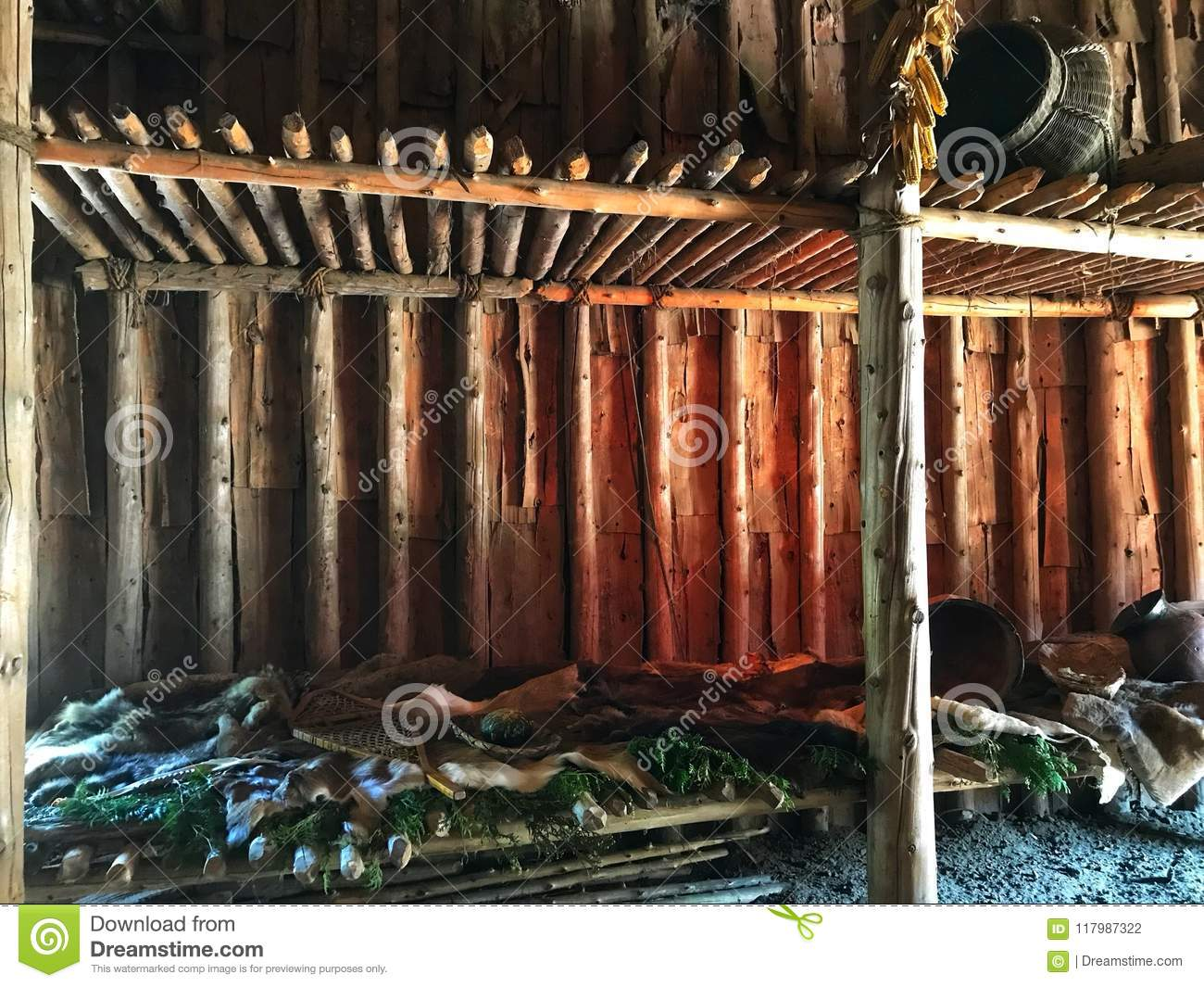Inside of long house stock photo  Image of oldhouse - 117987322